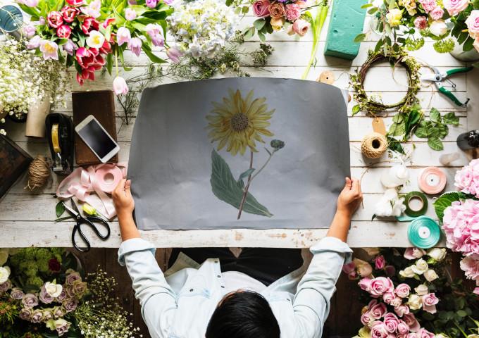 Blumenladen Sonnenblumen Blumenauswahl