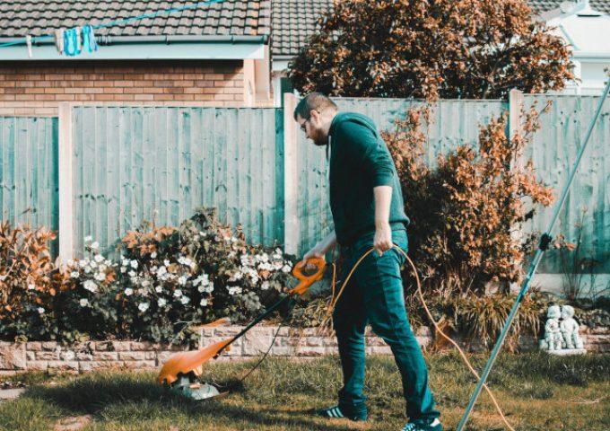 Mann trimmt rasen, Gartenarbeit